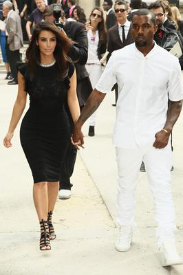 Kim Kardashian and Kanye West  leave the Valentino Haute-Couture Show as part of Paris Fashion Week