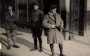 Black and Tans on patrol. This image is often mistakenly associated with Kerry. It was actually taken following a skirmish on Gloucester Street in Dublin