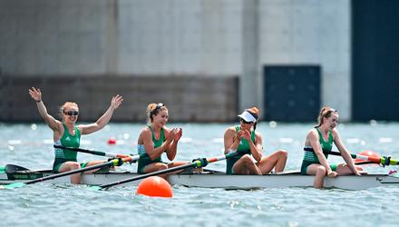 Ireland rowers, from left, Aifric Keogh, Eimear Lambe, Fiona Murtagh and Emily Hegarty celebrate after finishing 3rd place in the Women's Four final at the Sea Forest Waterway during the 2020 Tokyo Summer Olympic Games