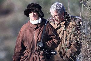 Ghislaine Maxwell with Jeffrey Epstein on a pheasant shoot they took part in at the prince's invitation at Sandringham House, Norfolk. Alban Donohoe / Albanpix.com
