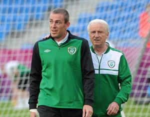 Republic of Ireland Squad Training - Sunday 17th June...17 June 2012; Republic of Ireland manager Giovanni Trapattoni with Richard Dunne during squad training ahead of their UEFA EURO 2012, Group C, game against Italy on Monday. Republic of Ireland EURO2012 Squad Training, Municipal Stadium Poznan, Poznan, Poland. Picture credit: Pat Murphy / SPORTSFILE...ABC