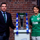 Ireland women's coach Adam Griggs and captain Ciara Griffin at the launch of this year's Six Nations in London this week. Photo: Sportsfile