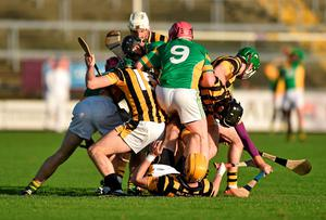 The Kilcormac Killoughey and Shelmaliers players battle for the ball during their Leinster club SHC quarter-final clash. Photo: Barry Cregg / SPORTSFILE