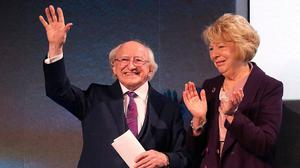 President Michael D Higgins and his wife Sabina at Dublin Castle as he was announced as the next president of Ireland. Photo: Damien Eagers/INM