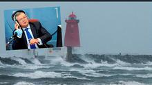 Poolbeg Lighthouse on the great South Wall during Storm Ophelia, Dublin and inset, Joe Duffy
