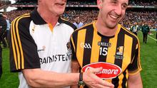 Kilkenny's Eoin Larkin with manager Brian Cody following their victory