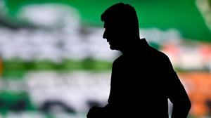A silhouette of Stephen Kenny before the game. Photo: Sportsfile