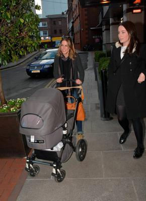 Amy Huberman seen leaving Balfe's restaurant at The Westbury Hotel pushing baby in pram with brother Mark Huberman & his girlfriend