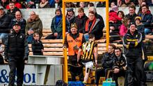 Jonjo Farrell, Kilkenny, makes his way to the stand after receiving a straight red card from referee Colm Lyons