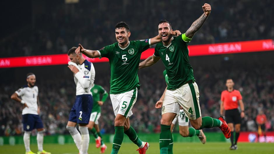 John Egan and Shane Duffy celebrate after Ireland's equaliser against Serbia. Photo by Stephen McCarthy/Sportsfile