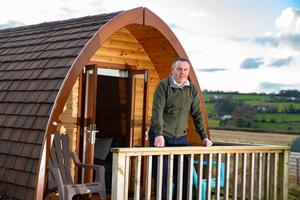 Branching out: Ken Walsh outside one of his pods at Brandon Hill Camping, Graigue-namanagh, Co Kilkenny. Photo: Patrick Browne