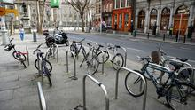 Empty bike racks on Dublin's College Green amid the Covid-19 crisis. Photo: Reuters