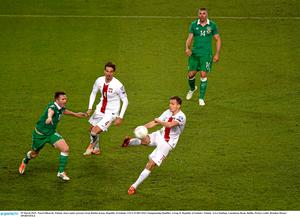 29 March 2015;  Pawel Olkowski, Poland, clears under pressure from Robbie Keane, Republic of Ireland. UEFA EURO 2016 Championship Qualifier, Group D, Republic of Ireland v Poland. Aviva Stadium, Lansdowne Road, Dublin. Picture credit: Brendan Moran / SPORTSFILE