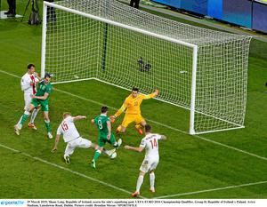 29 March 2015; Shane Long, Republic of Ireland, scores his side's equalising goal. UEFA EURO 2016 Championship Qualifier, Group D, Republic of Ireland v Poland. Aviva Stadium, Lansdowne Road, Dublin. Picture credit: Brendan Moran / SPORTSFILE