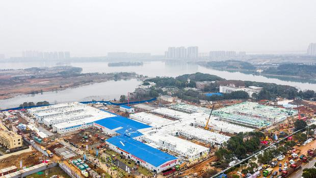 The Huoshenshan temporary field hospital is seen as it nears completion in Wuhan. Photo: Chinatopix via AP