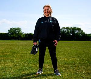 Lisa Fallon poses for a portrait at Griffeen Valley Park in Lucan, Dublin, after being announced as the head coach of the London City Lionesses. Photo: Stephen McCarthy/Sportsfile