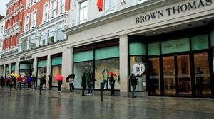 Members of the public at Brown Thomas department store as it reopened in Dublin this morning  Photo: Gareth Chaney/Collins