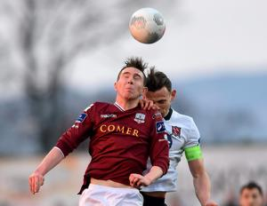 Galway United's Padraic Cunningham in action against Andy Boyle of Dundalk