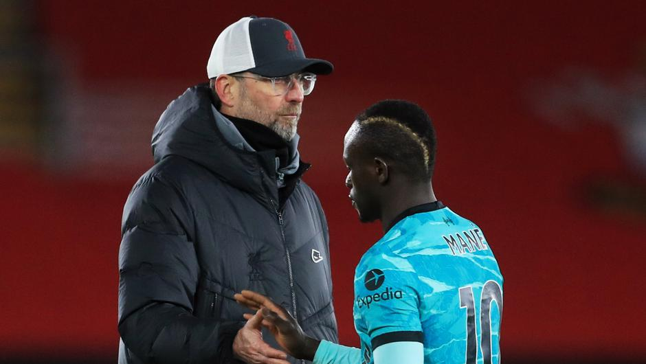 Liverpool manager Jurgen Klopp with Sadio Mane after the Premier League defeat to Southampton at St Mary's Stadium