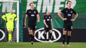 Soccer Football - Europa League - Group B - SK Rapid Wien v Dundalk - Allianz Stadion, Vienna, Austria - November 5, 2020  Dundalk's Daniel Cleary and teammates look dejected during the match REUTERS/Lisi Niesner