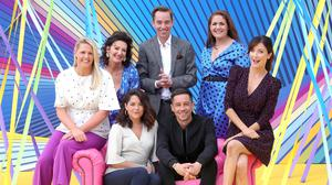 Money worries: In the picture on the left (from back from left) is Jacqui Hurley, Maura Derrane, Ryan Tubridy, Fiona Coughlan and (from front) Sarah Greene, Killian Scott and Jennifer Zamparelli at the new season launch. Photo: Collins