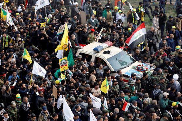 Mourners attend the funeral of the Iranian Major-General Qassem Soleimani in Baghdad, Iraq REUTERS/Khalid al-Mousily