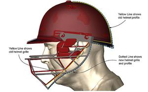 A graphic released by Masuri, the manufacturer of the helmet worn by batsman Phil Hughes, highlights the difference between the two models