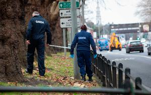 04/01/2017 Members of the Gardai at the scene of a stabbing which involved a 36-year-old woman who was walking home from work when she was approached by another woman who demanded her handbag on the Drumcondra Road Lower between Clonliffe Road and the Archbishop's House, Dublin. Photo: Gareth Chaney Collins