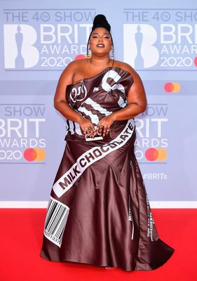 Lizzo arriving at the Brit Awards 2020 held at the O2 Arena, London. PA Photo. Picture date: Tuesday February 18, 2020. See PA story SHOWBIZ Brits. Photo credit should read: Ian West/PA Wire