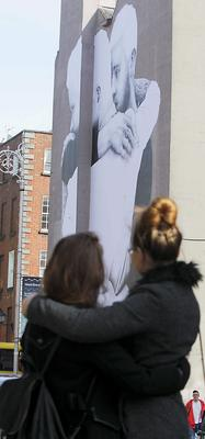 13/04/15 Massive mural pictured on the side of the Mercantile building at the junction of South Great George?s St and Dame St. Pic Stephen Collins/Collins Photos