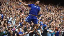 Chelsea's Diego Costa celebrates scoring a second goal against Swansea