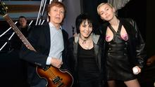 CLEVELAND, OH - APRIL 18:  Paul McCartney, Joan Jett and Miley Cyrus attend the 30th Annual Rock And Roll Hall Of Fame Induction Ceremony at Public Hall on April 18, 2015 in Cleveland, Ohio.  (Photo by Kevin Mazur/WireImage for Rock and Roll Hall of Fame)