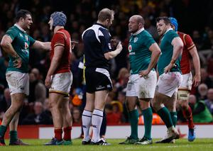 Ireland's Rory Best speaks with referee Wayne Barnes Action Images via Reuters / Andrew Boyers