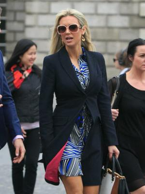 11/06/2015 Rosanna Davison during the Humanist Funeral Service for Paolo Tullio at The Exam Hall in Trinity College, Dublin. Photo: Gareth Chaney Collins