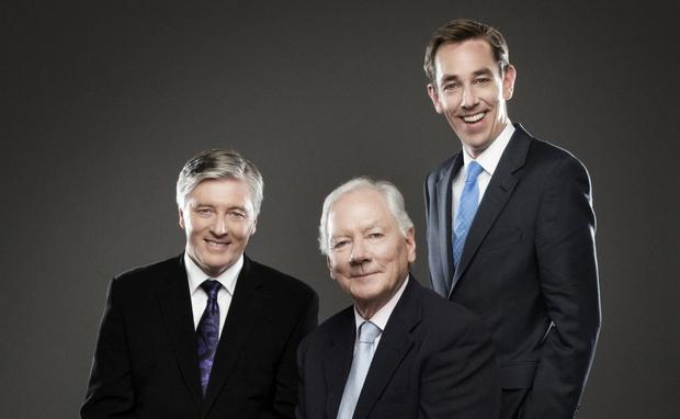 Passing the torch: Pat Kenny (left) took over from Gay Byrne on 'The Late Late Show', which is now presented by Ryan Tubridy (right). Photo: Barry McCall
