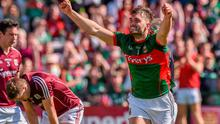 Aidan O'Shea, Mayo, celebrates after scoring his side's first goal