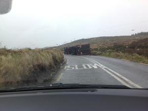 Articulated lorry overturned in storm force gales gusting at 160km/hr outside Camp on the main Tralee to Dingle road