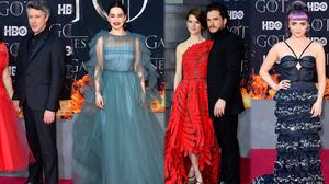 (L to R) Camille O'Sullivan and Aiden Gillien, Emilia Clarke, Rose Leslie and Kit Harington and Maisie Williams