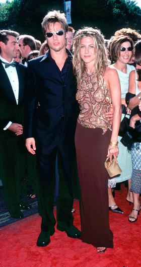 Brad Pitt and Jennifer Aniston at the 51st Annual primetime Emmy Awards in 1999 . Photo by Brenda Chase/Online USA, Inc.
