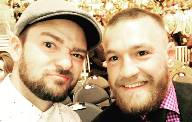 Justin Timberlake and Conor McGregor pictured together at UFC 200 in Las Vegas. Photo: Justin Timberlake / Instagram