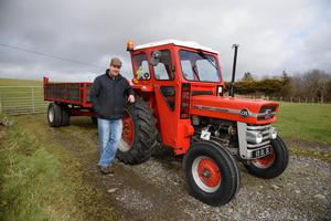 Vintage time: Daniel May on his farm on the outskirts of Ardara with his vintage 135 Massey. Photo Clive Wasson