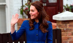 The Duchess of Cambridge waves as she leaves following a visit to an Early Years Parenting Unit in north London run by the Anna Freud National Centre for Children and Families.