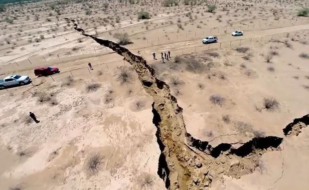 The video showcasing the crack that in some parts is 16ft (5m) wide, was shot using a camera attached to a drone device. (Photo: YouTube)