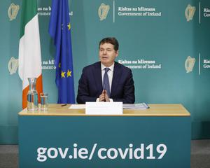 Minister for Finance Paschal O Donohoe speaking in Government Buildings at the Q1 Exchequer Returns. Photo: Leon Farrell/Photocall Ireland.