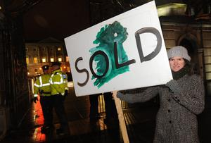 Meave McCarthy from Dublin outside the Dail after the government approved the EU IMF rescue dealon 15/12/2010