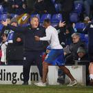 Tranmere Rovers manager Micky Mellon celebrates after the match Action Images via Reuters/Jason Cairnduff