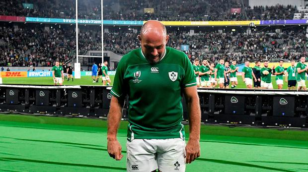 OVER AND OUT: Ireland captain Rory Best makes his way off after being substituted in his last international in Saturday's World Cup quarter-final defeat to New Zealand at the Tokyo Stadium. Photo: Brendan Moran/Sportsfile