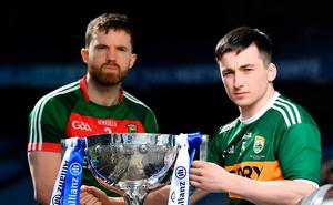 KEEN RIVALS: Kerry's Paul Murphy and Mayo's Chris Barrett at yesterday's Allianz FL Division 1 final launch at Croke Park. Photo: Brendan Moran/Sportsfile