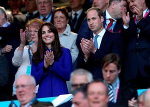 The Duke and Duchess of Cambridge during the Rugby World Cup opening ceremony. David Davies/PA Wire.