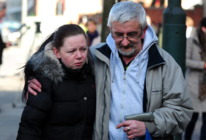 Bernadette Duffy, the sister of Mairead Philpott, with their father Jimmy outside Nottingham Crown Court